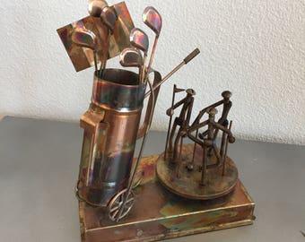 Copper Music Box Golf - I Left My Heart - San Francisco - Vintage Copper Sculpted Music Box - Sports - Golf Caddy - Golf Clubs - Metal Art