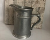 Pewter Pitcher - 9 Inch Tavern Style - Columbia Pa Wilton Pewter Pitcher - Water Pitcher - Vintage Pewter Serving - Rustic Farmhouse Country