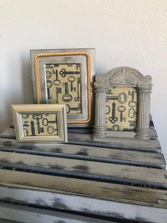 Vintage Frame Set Silver Grey Gold Frames Trio Ornate Frames Etsy