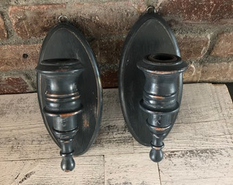 Wall Sconce Pair Wood Grey Charcoal Black Gray - Vintage Wall Sconce Pair - Tapered Candle Holders - Urban Farmhouse Country Cottage Rustic