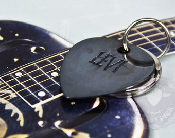 Name Guitar Pick Keychain Necklace