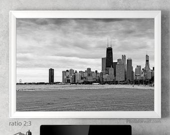 Chicago skyline wall art Chicago prints large wall art Chicago wall decor, Chicago home decor art prints housewarming gift