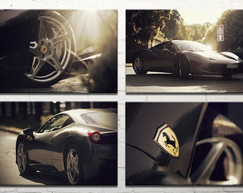 Ferrari 458 photography/classic car photography/large wall art/set of 4 prints/large canvas art /car print/Ferrari poster/Ferrari prints