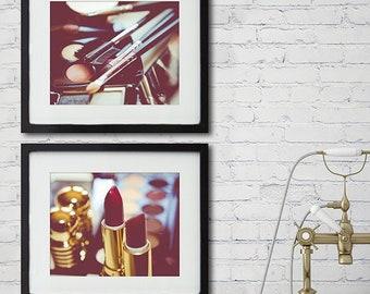 Bathroom Wall Decor Set of 2 Makeup Prints, Boho Makeup Wall Decor, personalized wall Decor, Large Wall Art, Fashion Print