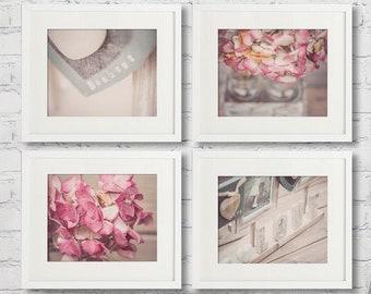 Rustic Bathroom wall Decor, farmhouse Bathroom decor, bathroom art print set of 4 prints soft pink Bonheur Love