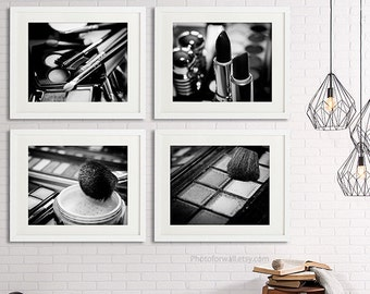 Chanel/Chanel Bathroom Set/Set Of 4 Black And White Photography/Makeup Wall  Art/Makeup Brushes/ Makeup Prints/Bathroom Art/Bathroom Decor