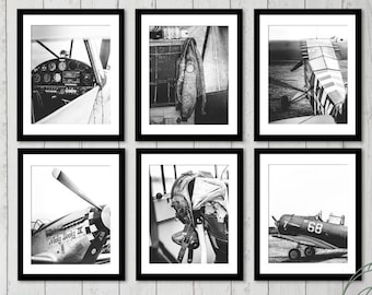 Personalized Pilot Gift for Dad Vintage Aviation decor, Airplane piper, Original gallery wall set of 6 plane black and white prints