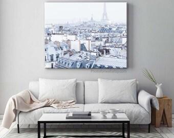 Paris photography rooftop white decor minimalist decor, Paris decor, shabby chic decor, office decor, Paris bedroom decor, Paris prints