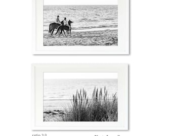 Horse beach photography set of 2 black and white prints horse wall decor office or bedroom wall decor headboard