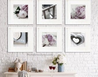 Rustic farmhouse living room wall decor in soft grey and pink set of 6 prints peonies Bonheur, laundry room decor