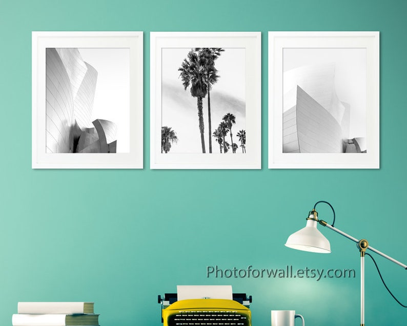 Wall decor black and white prints with Los Angeles Palm Trees image 0