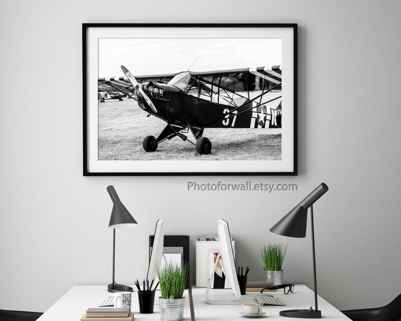 Original Black and white print airplane wall decor airplane image 0
