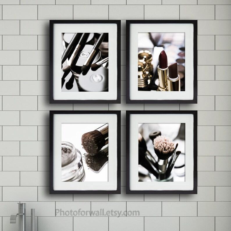 Bathroom wall decor with Chanel Dior makeup printset of 4 image 0