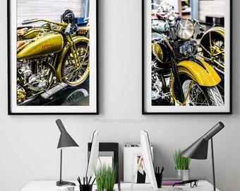 Harley Davidson photography, Harley motorcycle set of 2 prints Harley wall art Harley gift for him, garage decor, personalized gift