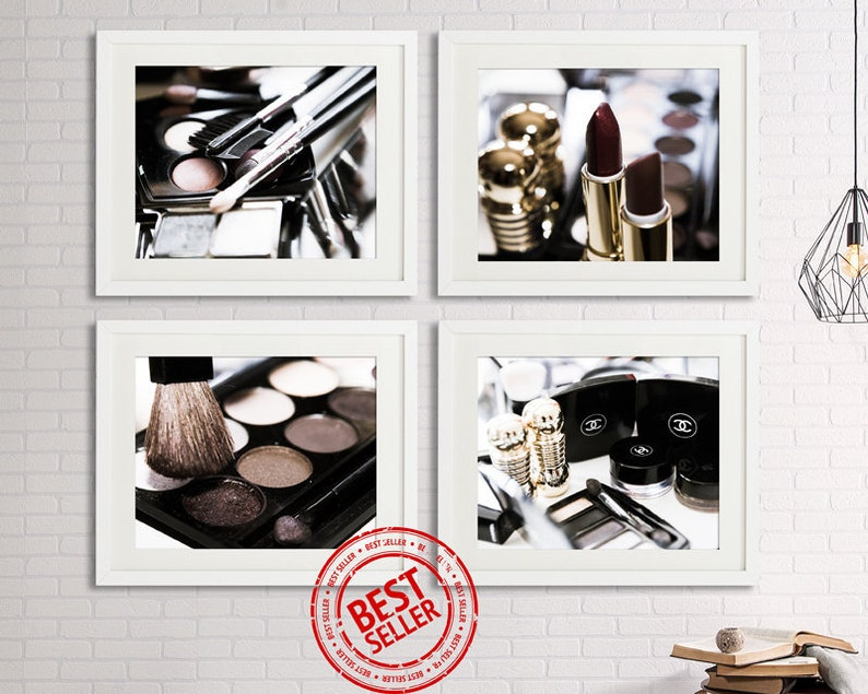 Bathroom wall decor with Chanel Dior makeup print Boho copper image 0