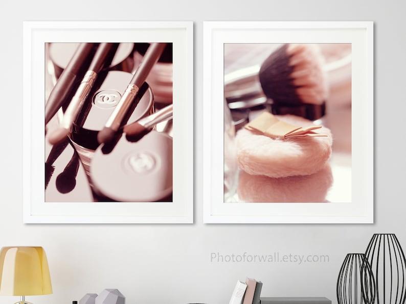 Chanel makeup set of 2 prints bathroom wall decor large wall image 0