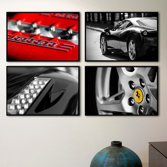Ferrari 458 Spider 30x20 Inch Canvas Framed Picture Print Wall Art