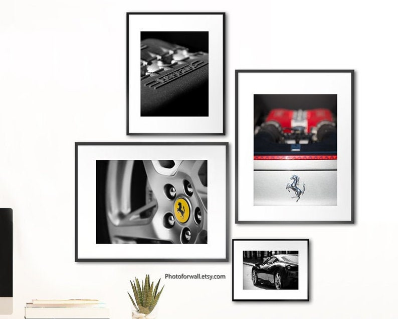 Black and white prints Ferrari 458 italia wall art for office image 0
