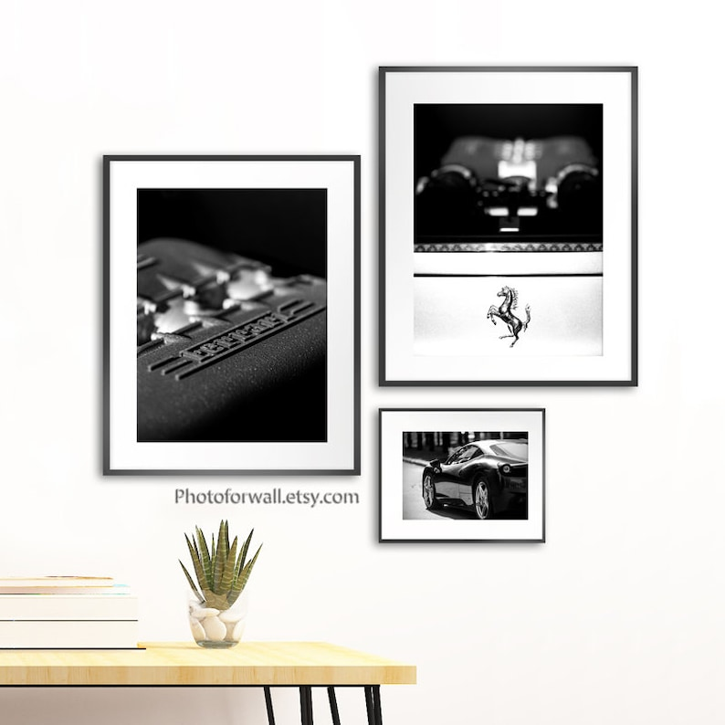 Ferrari wall art in black and white photography office wall image 0