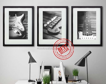 Music Art Print Office Decor Guitar Black and white prints, Music theme gifts with Fender guitar wall art, gift for him