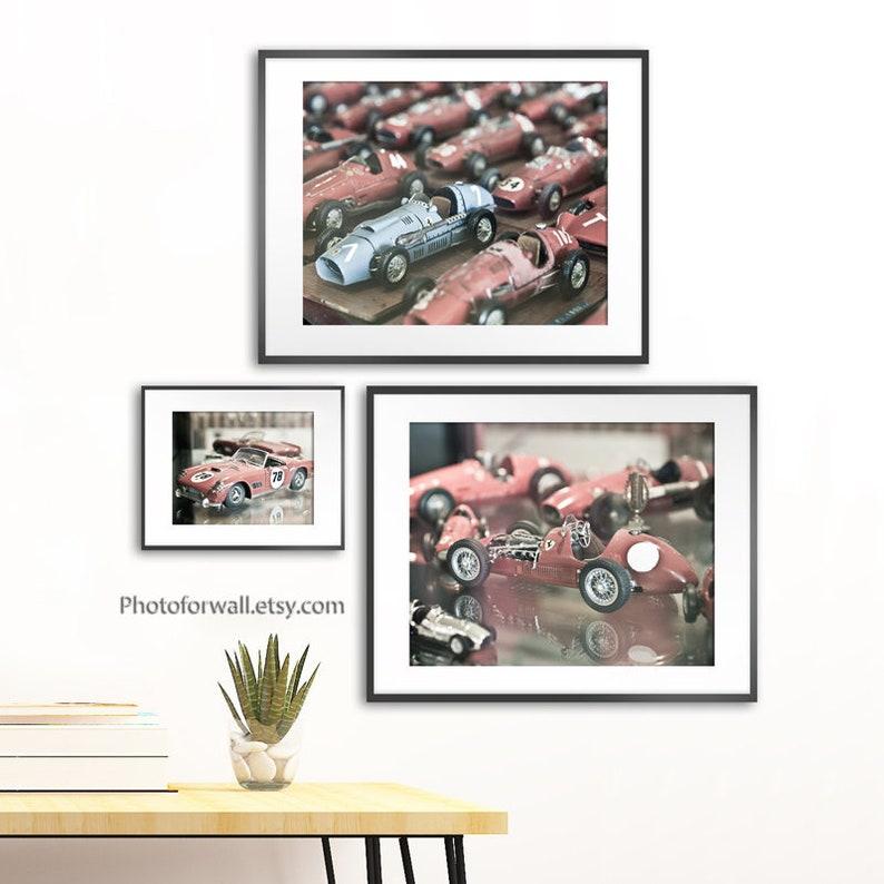 Ferrari wall art set of 3 Ferrari prints old red Ferrari image 0