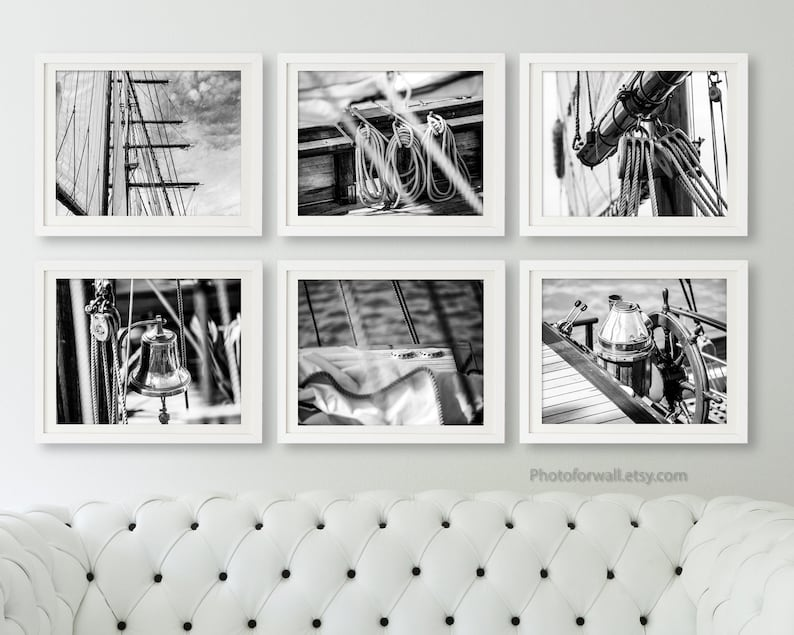 Original gallery wall set of 6 black and white prints boat image 0