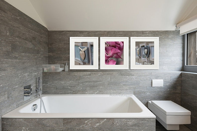 Rustic Bathroom Wall Decor Set Of 3 Prints Large Wall Etsy