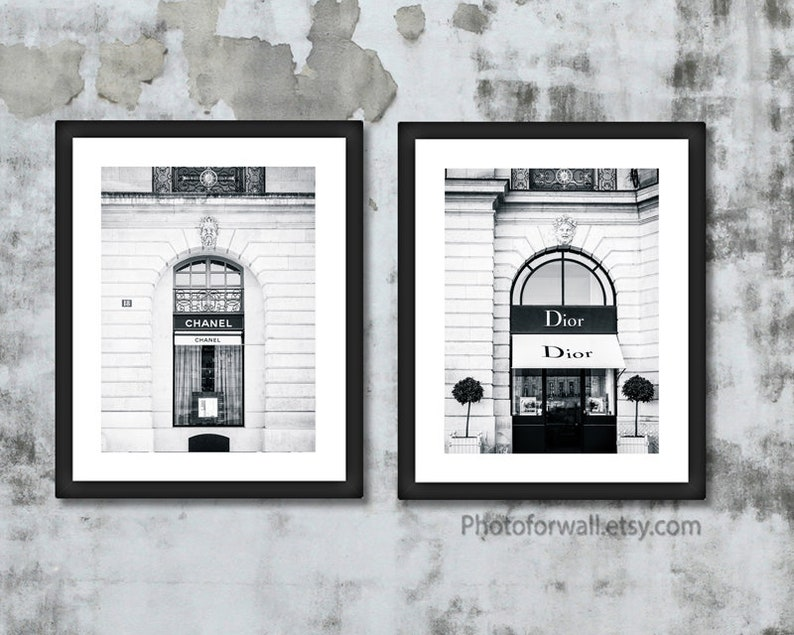 Black and white prints Paris Dior and Chanel prints Framed image 0