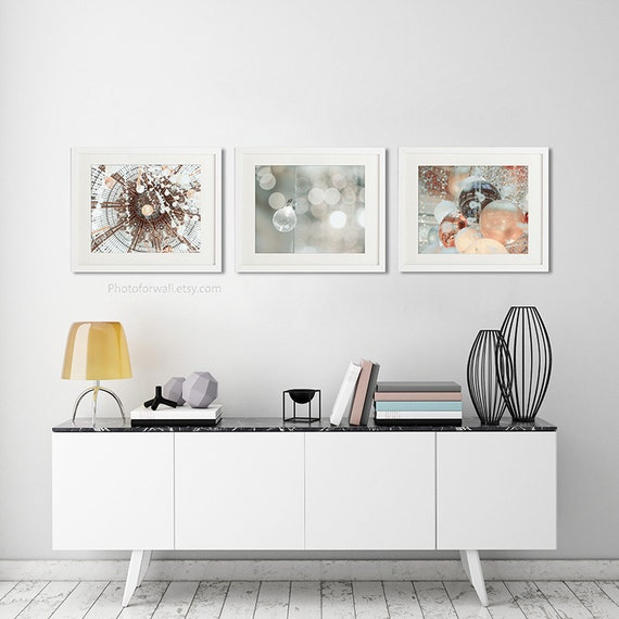 Boho Copper Decor Bathroom Art Set Of 3 Prints Paris Etsy