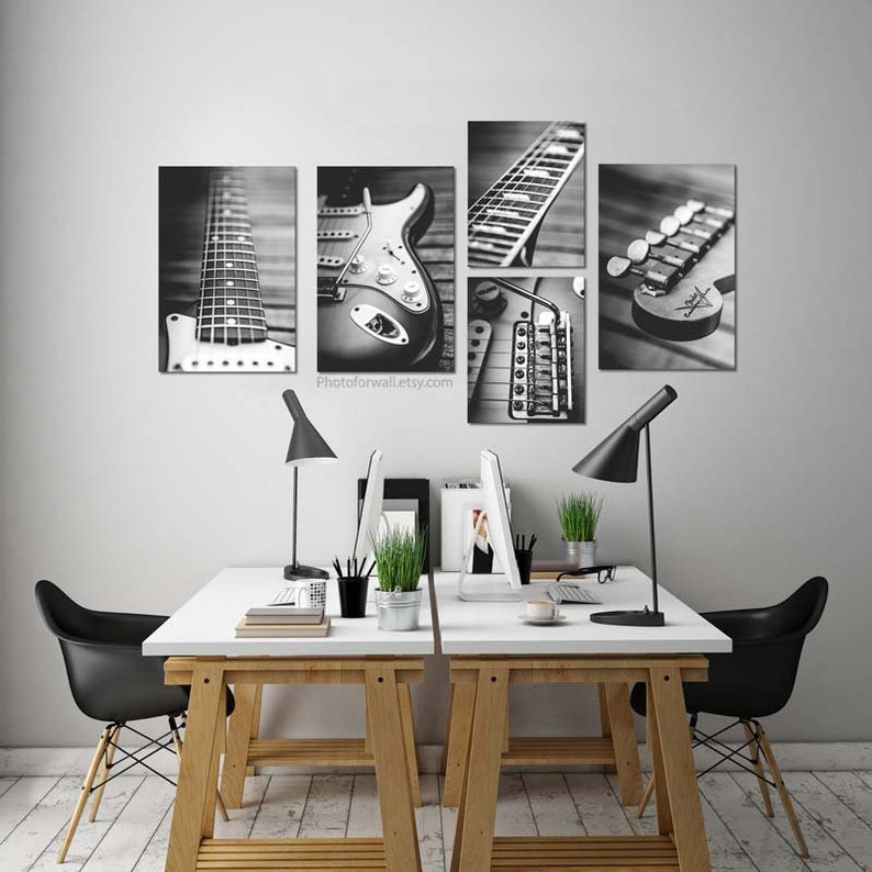 Music print set Music gifts for musician electric guitar image 0