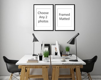 Choose Any Set of 2 prints Framed Matted in 8x12 or 12x16 or 16x20 or 20x30 inches to USA only