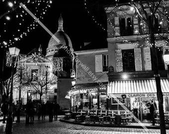 Montmartre Paris black and white photography, paris christmas decor, Paris decor, gift idea paris large wall art 8x10