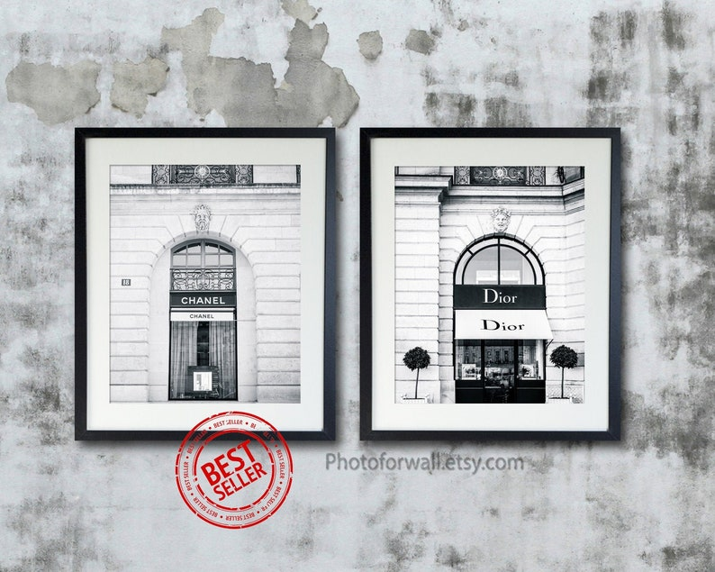 Black and white prints Paris Dior and Chanel prints Ikea frame 20x25cm - 8x10 inches