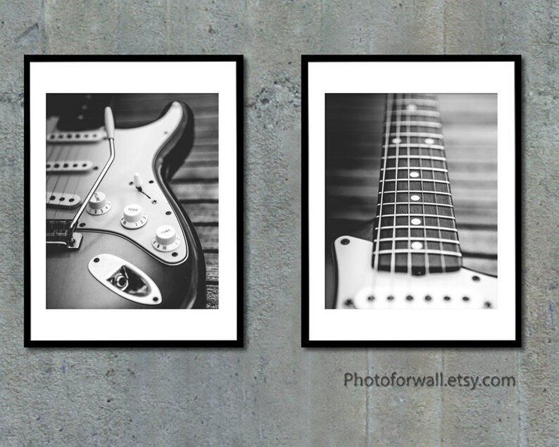 Electric guitar wall art Black and white rock n roll prints image 0