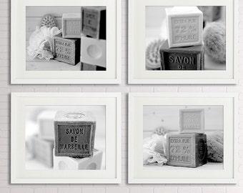 Savon de Marseille set of 4 prints Bathroom wall Decor, black and white Photography/Bathroom Art, soap, rustic cottage, bathroom wall art