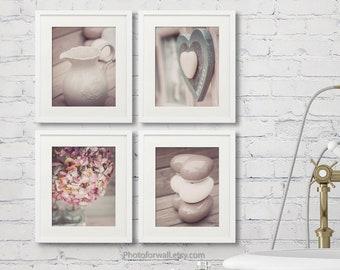 Rustic Bathroom wall Decor, farmhouse Bathroom decor, bathroom art print set of 4 prints UNFRAMED soft pink Love Hydrangea