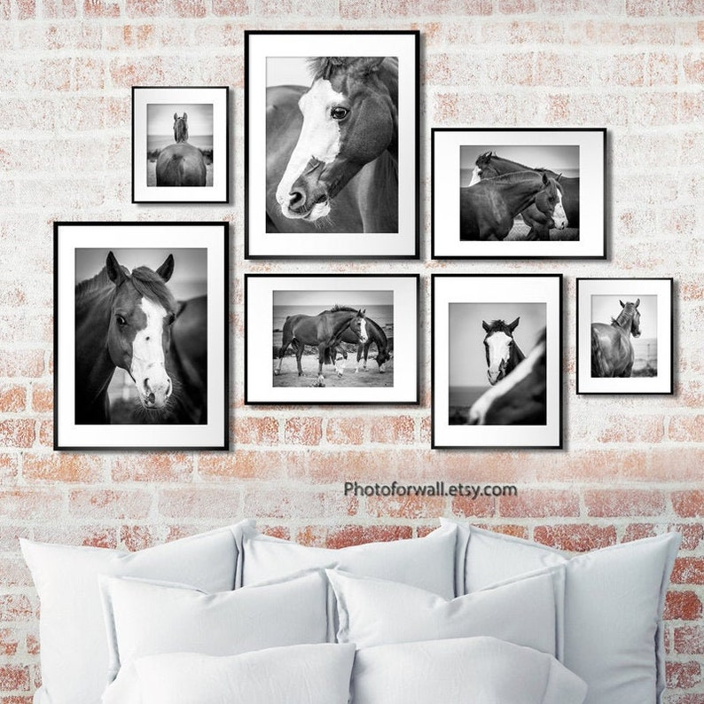 Horse art horse gallery wall art set of 7 Black and white image 0
