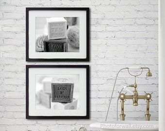 Rustic Bathoom wall decor with French bath Soap Savon de Marseille set of 2 prints for First anniversary gift for her girlfriend