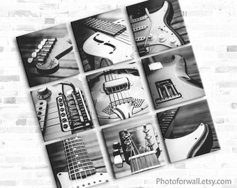 Musician gift Electric Guitar prints Music room decor set of 9 Black and white prints for office decor, Music theme gift for him