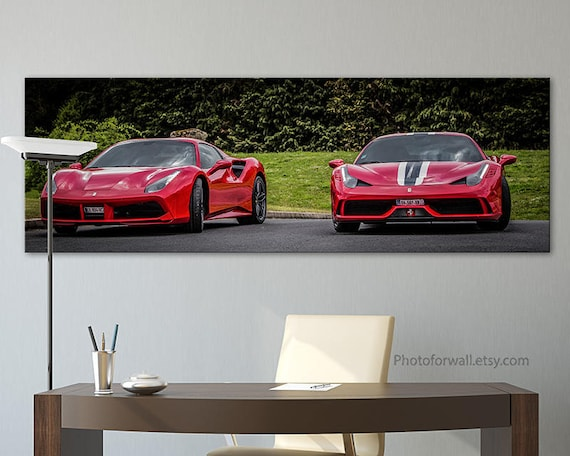 Ferrari 488 spider and 458 red canvas art/office wall | Etsy