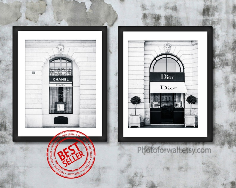 Black and white prints Paris Dior and Chanel prints unframed image 0