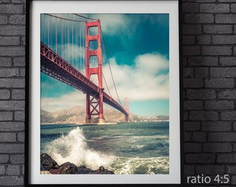 Golden Gate Bridge of San Francisco art print, Home office decor, California Art print, personalized home office