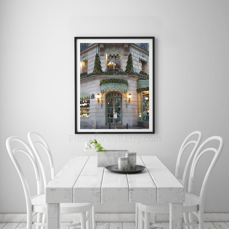 Laduree at christmas macaron Paris photography Champs Elysees street shop,  macaron wall decor, kitchen art wall decor, Paris wall art