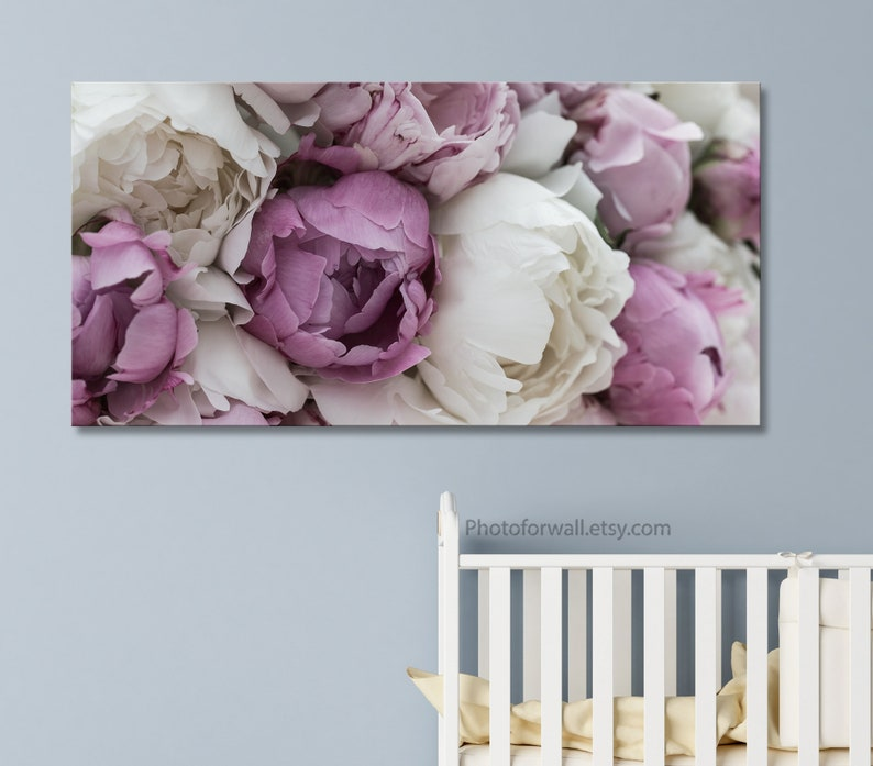 Baby shower gift baby Girl room decor with Pink Peonies canvas image 0