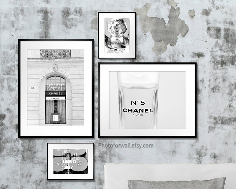Bathroom wall decor Chanel fashion wall art with Black and image 0