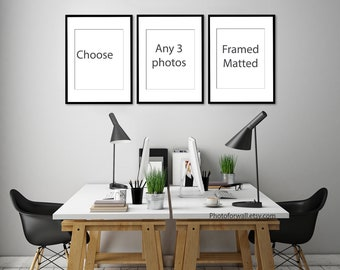 Choose Any Set of 3 prints Framed Matted in 8x12 or 12x16 or 16x20 or 20x30 inches to USA only