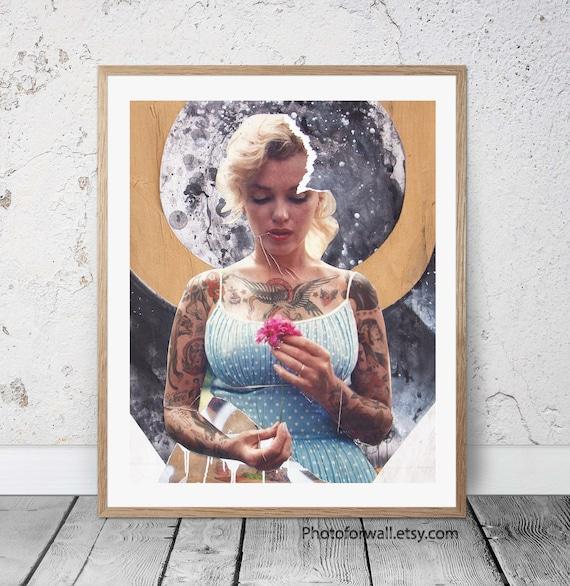 Tattooed Marilyn Monroe Street Art professionally Framed art print with m...