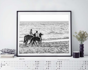 Horse beach photography black and white prints horse wall decor office or bedroom wall decor headboard