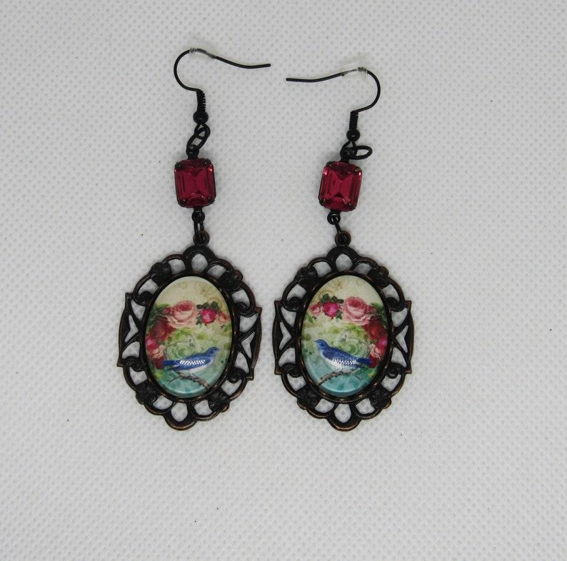 Neo Victorian Song Bird Rhinestone Earrings