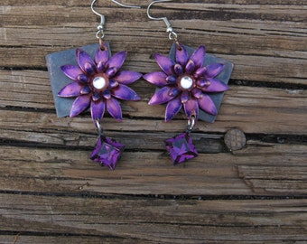 Brass Daisy Earrings in Purple with Swarovski Crystals